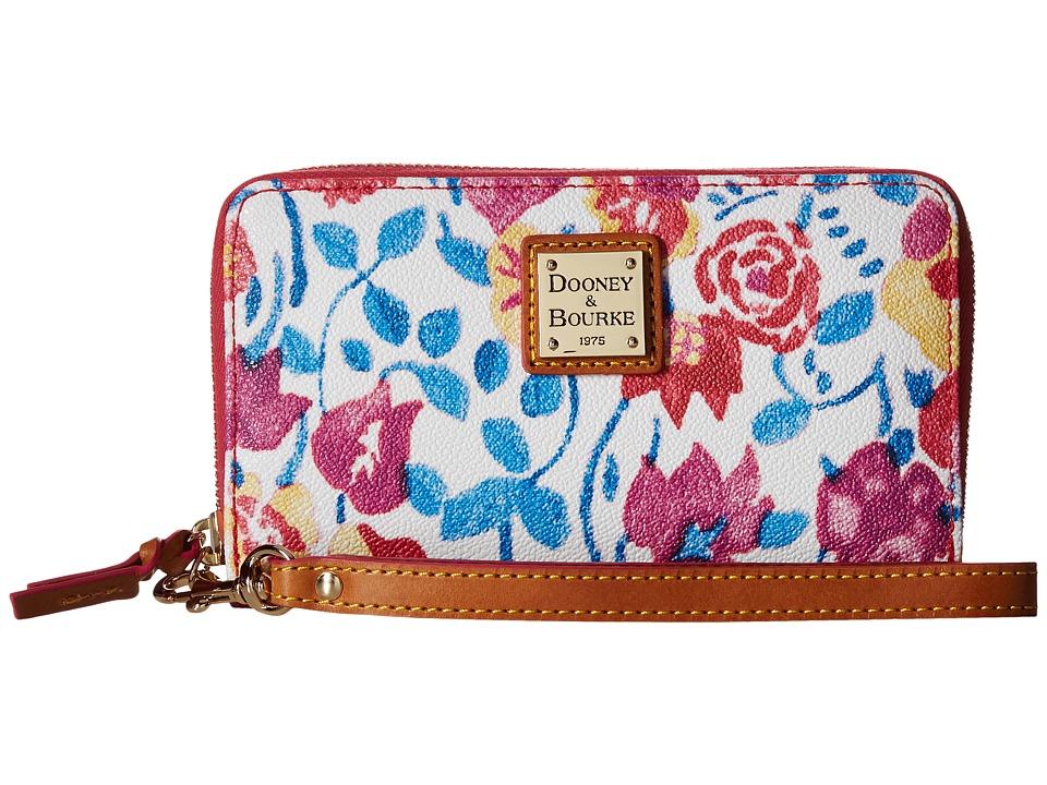 Dooney amp Bourke Marabelle Zip Around Phone Wristlet White/Natural Trim Wristlet Handbags