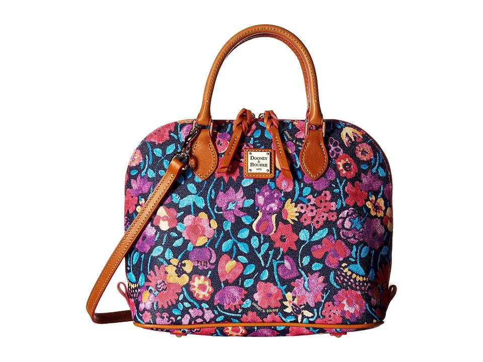 Dooney amp Bourke Marabelle Zip Zip Satchel Black/Natural Trim Satchel Handbags