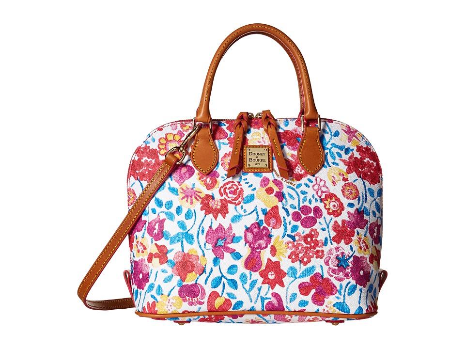 Dooney amp Bourke Marabelle Zip Zip Satchel White/Natural Trim Satchel Handbags