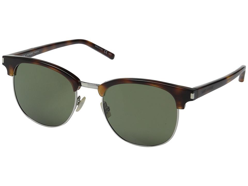 Saint Laurent - SL 108 (Light Havana/Green Barberini) Fashion Sunglasses