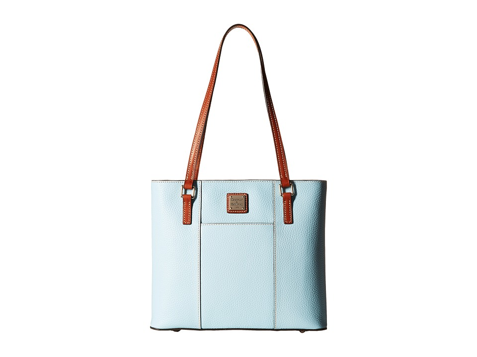 Dooney amp Bourke Pebble Leather New Colors Small Lexington Shopper Pale Blue/Tan Trim Tote Handbags