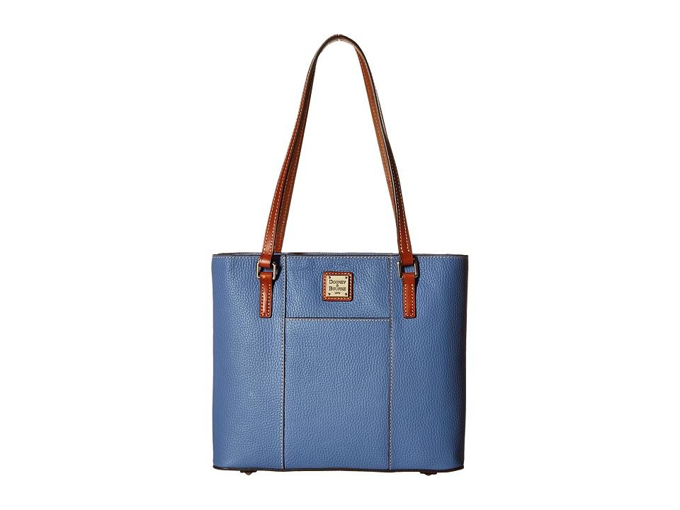 Dooney amp Bourke Pebble Leather New Colors Small Lexington Shopper Dusty Blue/Tan Trim Tote Handbags