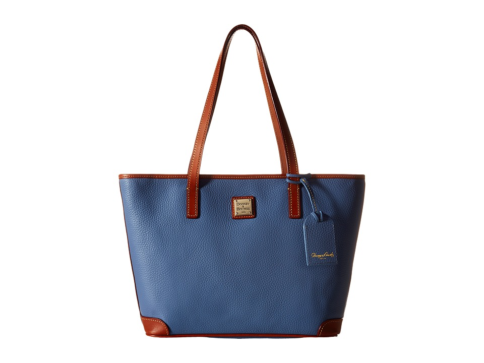 Dooney amp Bourke Charleston Shopper Dusty Blue/Tan Trim Tote Handbags