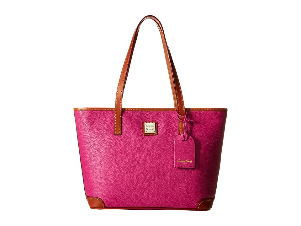 Dooney amp Bourke Charleston Shopper Magenta/Tan Trim Tote Handbags