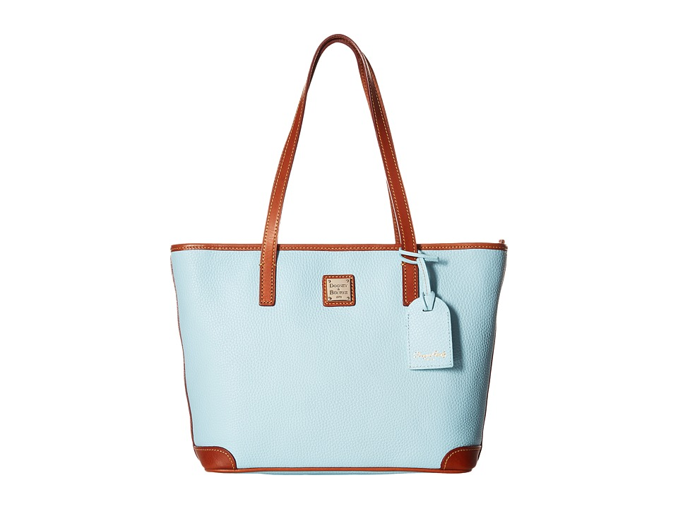Dooney amp Bourke Charleston Shopper Pale Blue/Tan Trim Tote Handbags