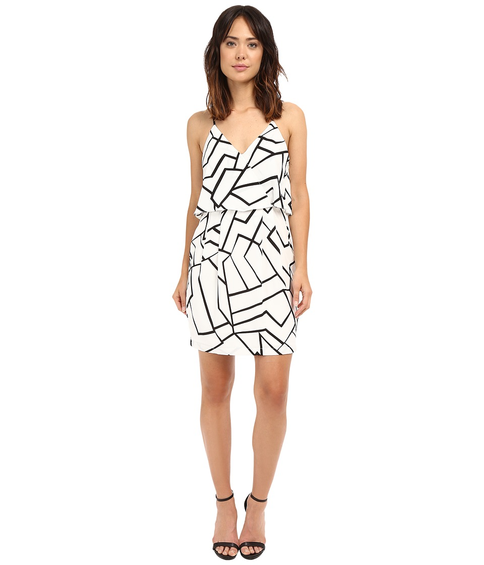 Adelyn Rae Woven Sheath Dress w/ Back Strap Detail White/Black Womens Dress