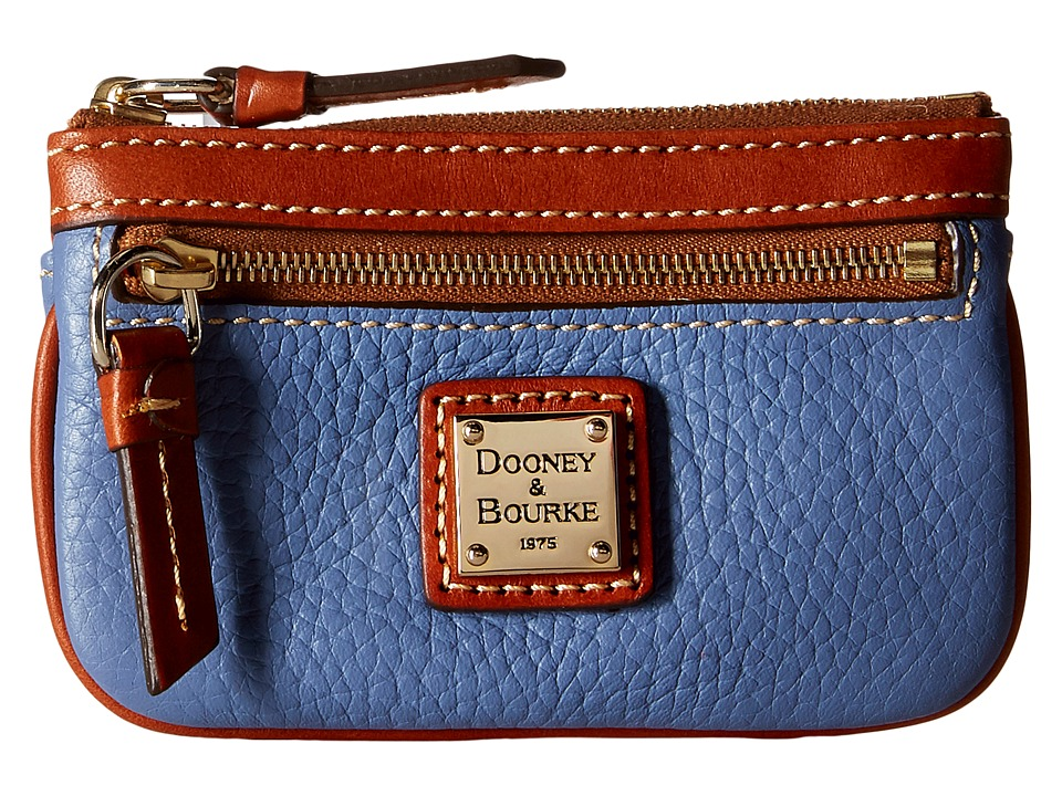 Dooney amp Bourke Pebble Small Coin Case Dusty Blue/Tan Trim Coin Purse