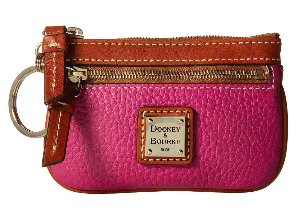 Dooney amp Bourke Pebble Small Coin Case Magenta/Tan Trim Coin Purse