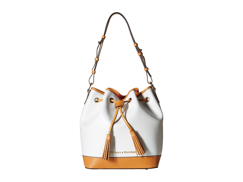 Dooney & Bourke - Claremont Drawstring (White/Butterscotch Trim) Shoulder Handbags