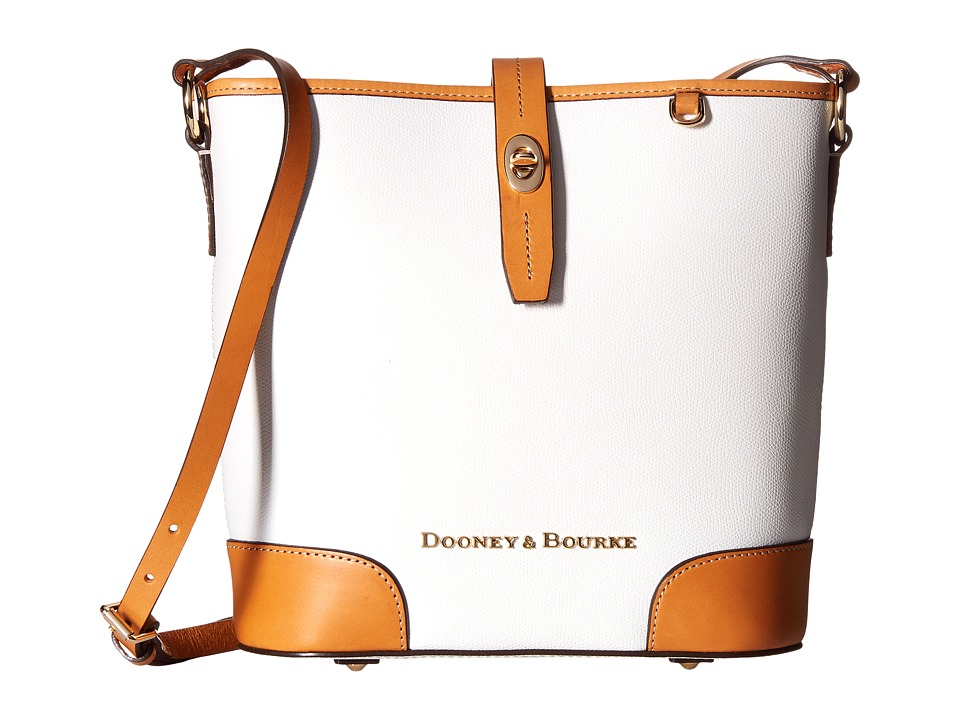 Dooney & Bourke - Claremont Crossbody Bucket (White/Butterscotch Trim) Cross Body Handbags