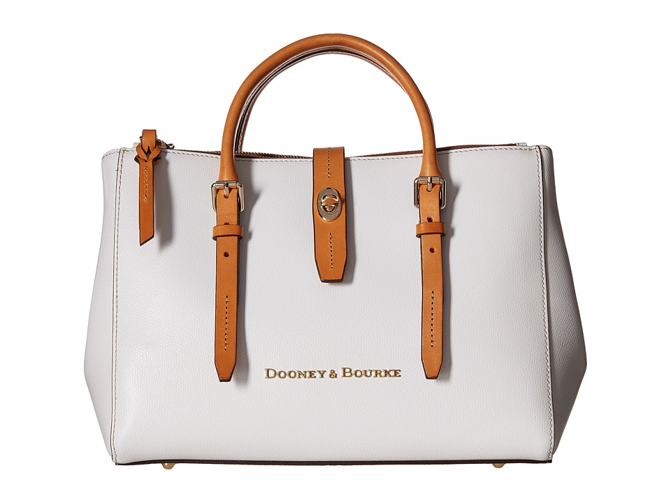 Dooney & Bourke - Claremont Miller Satchel (White/Butterscotch Trim) Satchel Handbags