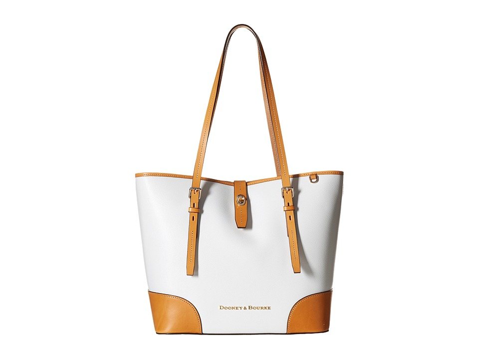 Dooney & Bourke - Claremont Dover Tote (White/Butterscotch Trim) Tote Handbags