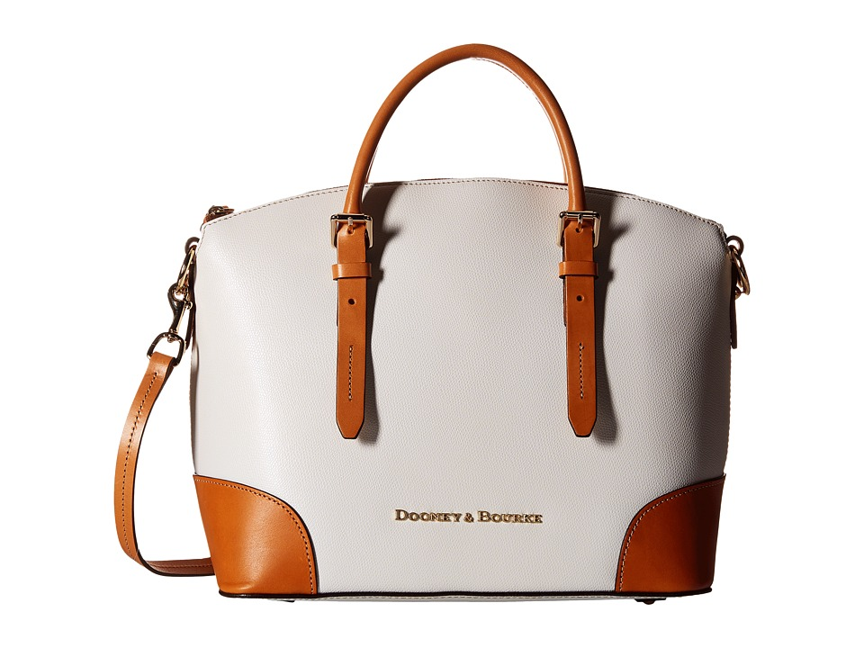 Dooney & Bourke - Claremont Domed Satchel (White/Butterscotch Trim) Satchel Handbags