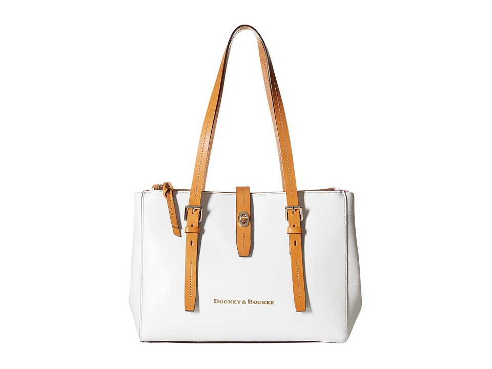Dooney & Bourke - Claremont Miller Shopper (White/Butterscotch Trim) Tote Handbags