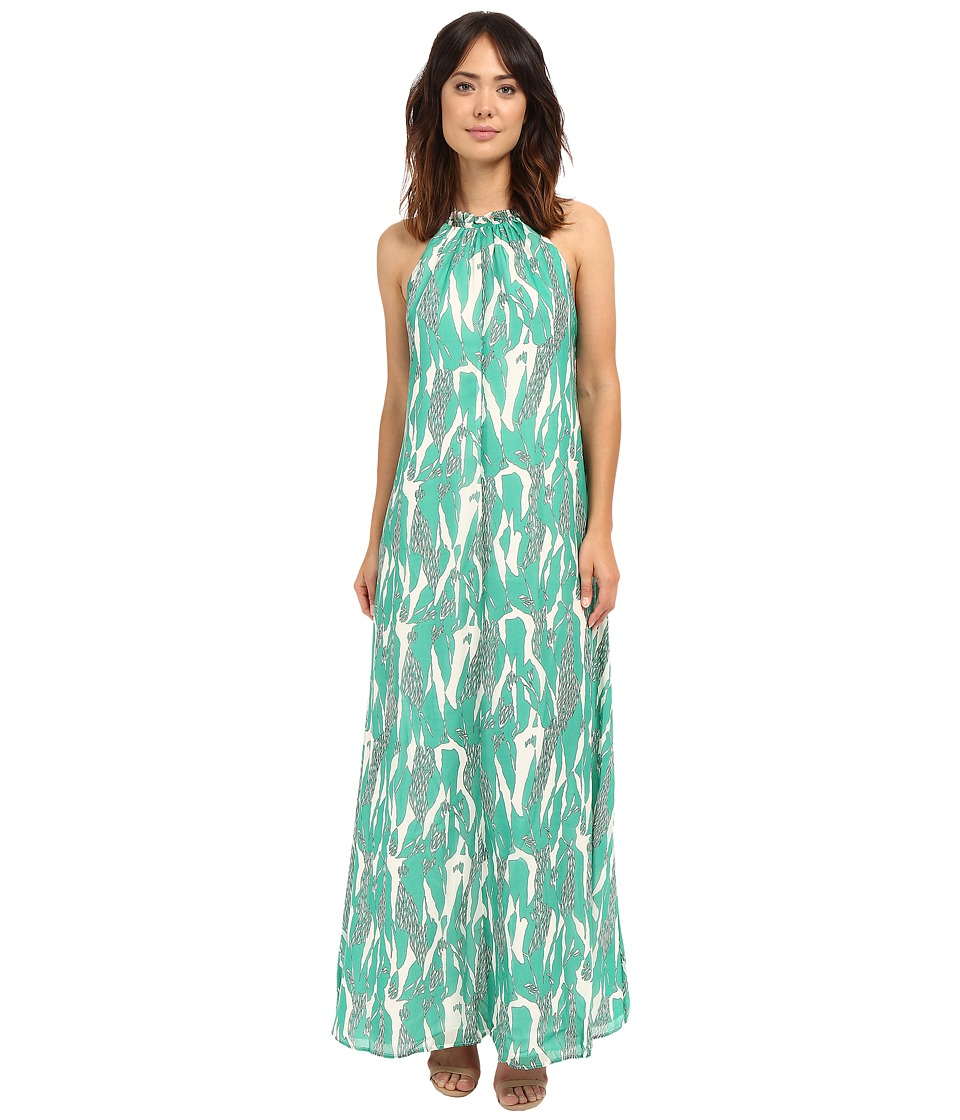 Adelyn Rae Halter Maxi Dress w/ Racerback Straps Green/White Womens Dress