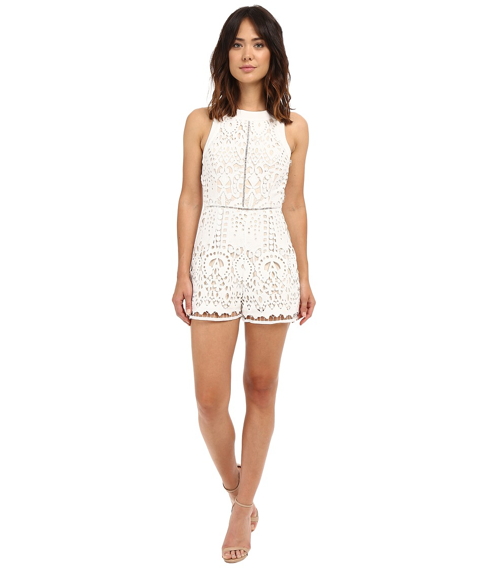 Adelyn Rae Sleeveless Lace Romper White Womens Jumpsuit Rompers One Piece