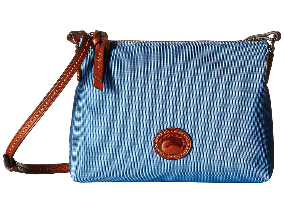 Dooney amp Bourke IN Nylon New SLGS Styles Crossbody Pouchette Dusty Blue/Tan Trim Cross Body Handbags
