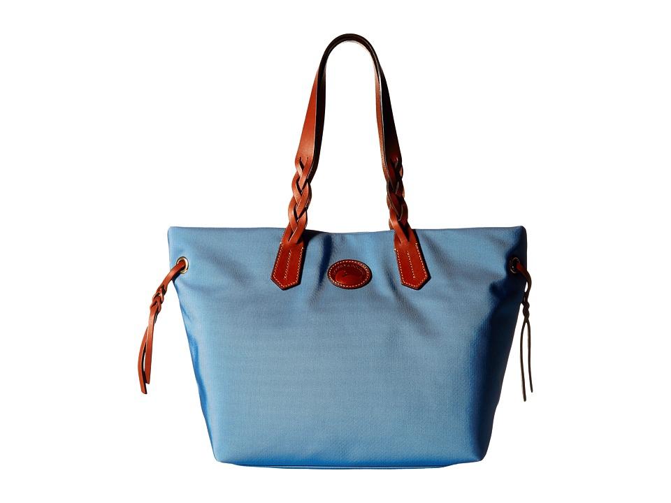 Dooney amp Bourke Nylon Shopper Dusty Blue/Tan Trim Tote Handbags