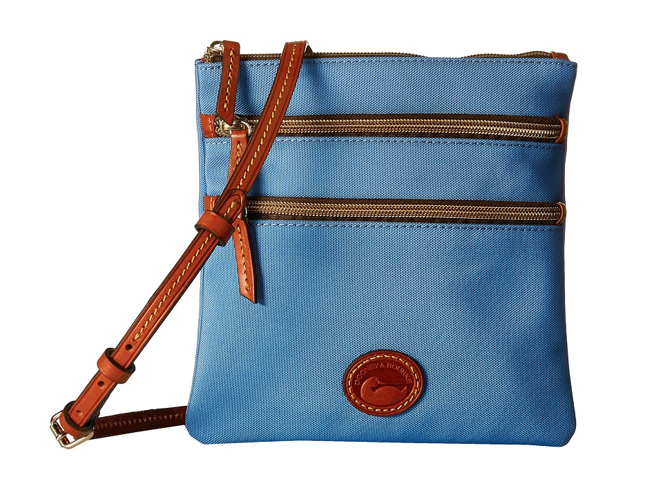 Dooney amp Bourke Nylon North/South Triple Zip Dusty Blue/Tan Trim Cross Body Handbags