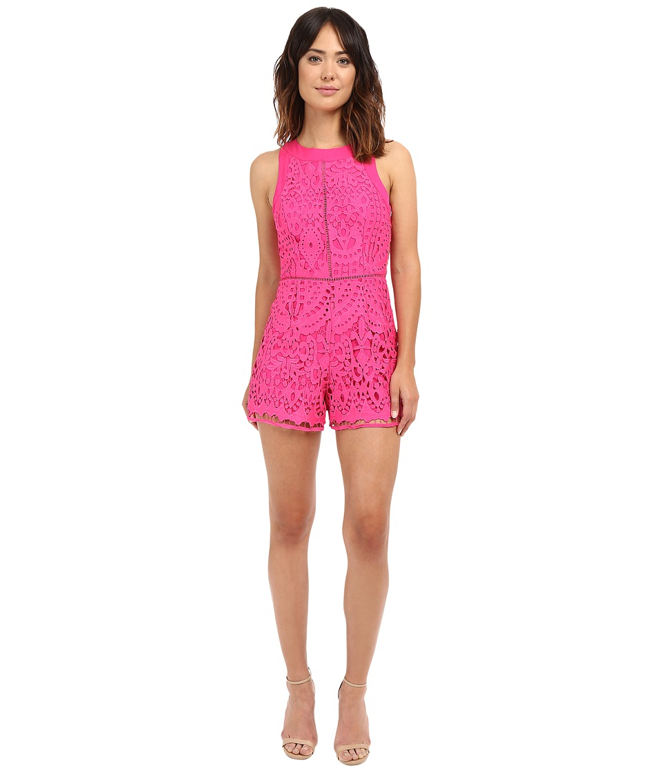 Adelyn Rae Sleeveless Lace Romper Magenta Womens Jumpsuit Rompers One Piece