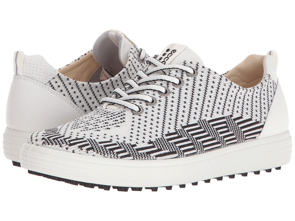 ECCO Golf - Casual Hybrid Knit (White/Black/White) Womens Golf Shoes