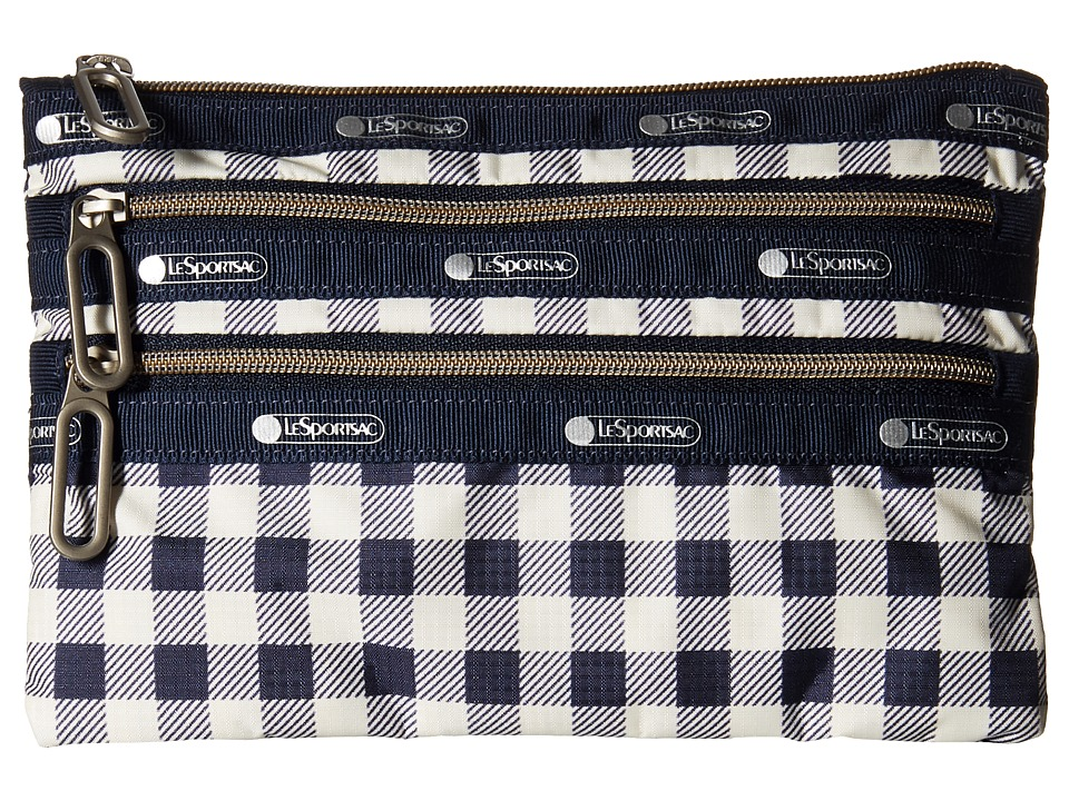 LeSportsac - Classic 3-Zip Pouch (Gingham Classic Navy) Wallet