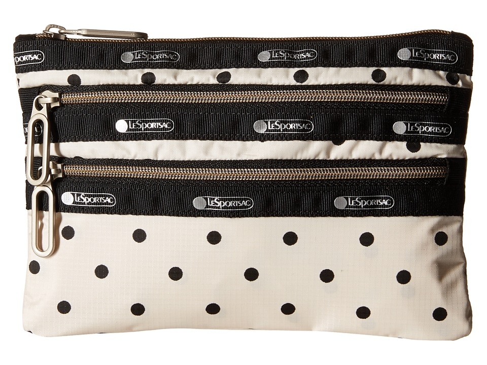 LeSportsac - Classic 3-Zip Pouch (Sun Dot Cream) Wallet