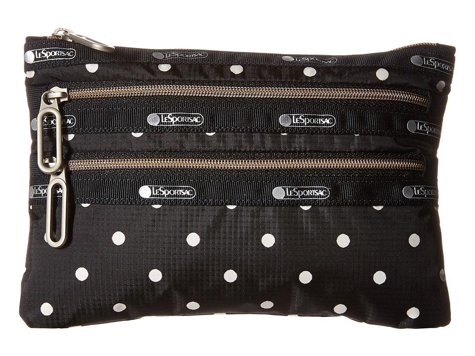 LeSportsac - Classic 3-Zip Pouch (Sun Dot Black) Wallet