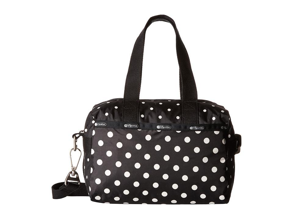 LeSportsac Small Uptown Satchel Sun Multi Black Satchel Handbags