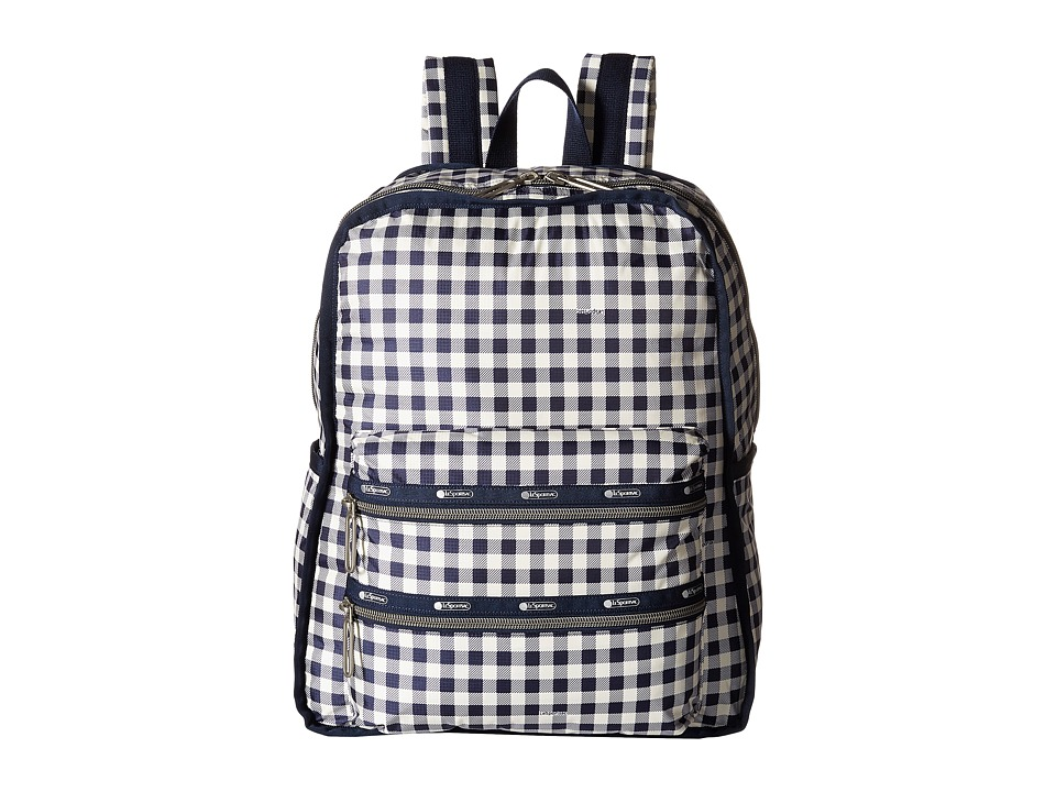 LeSportsac - Functional Backpack (Gingham Classic Navy) Backpack Bags