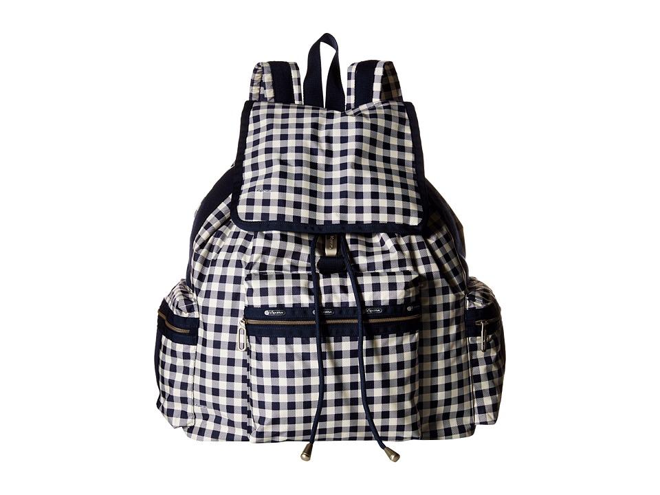 LeSportsac 3 Zip Voyager Gingham Classic Navy Handbags