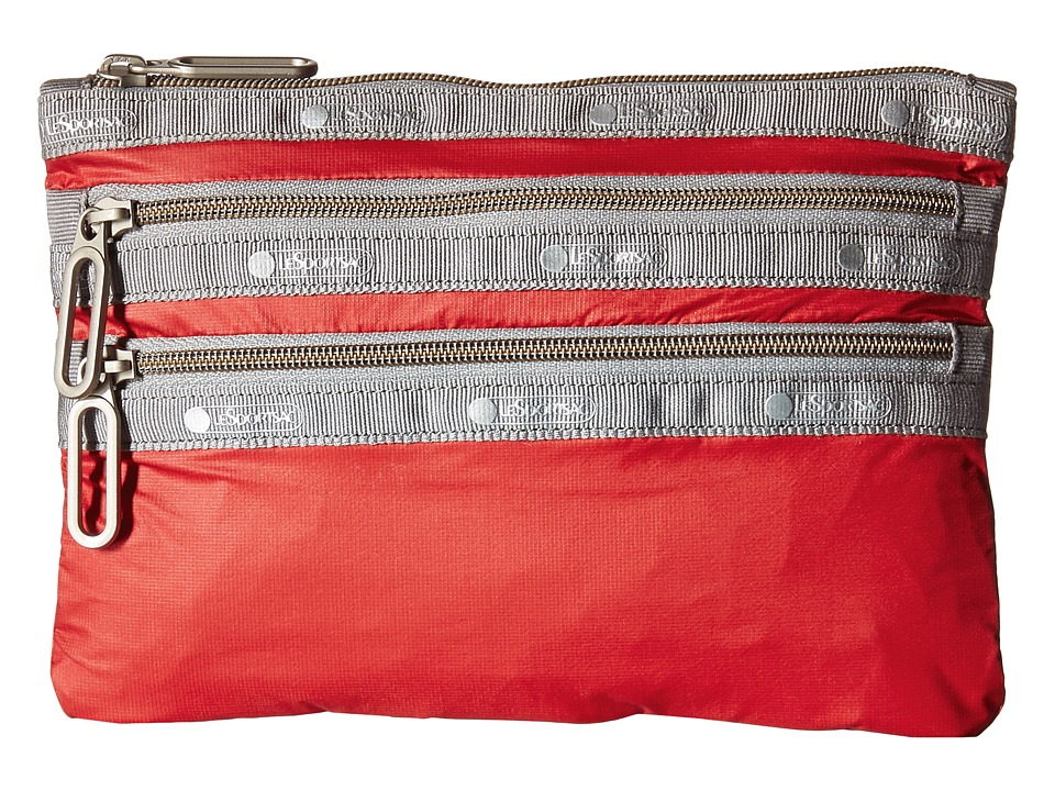 LeSportsac - Classic 3-Zip Pouch (Classic Red) Wallet