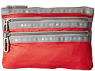 LeSportsac Classic 3-Zip Pouch (Classic Red)
