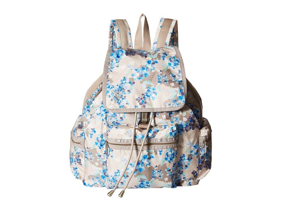 LeSportsac 3 Zip Voyager Flower Cluster Khaki Handbags
