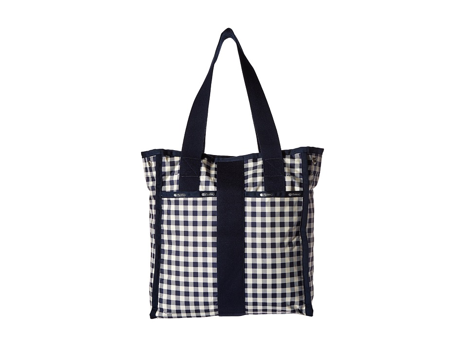 LeSportsac Luggage City Tote Gingham Classic Navy Tote Handbags