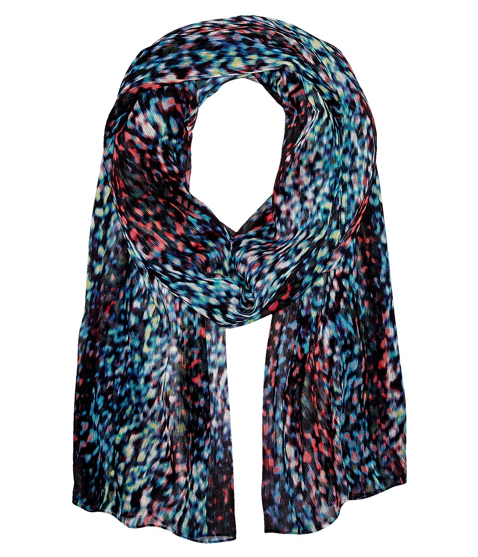 Calvin Klein Abstract Animal Crinkle Chiffon Scarf Black Multi Scarves