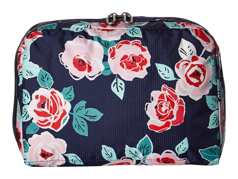 LeSportsac Luggage XL Essential Cosmetic Navy Rose Cosmetic Case