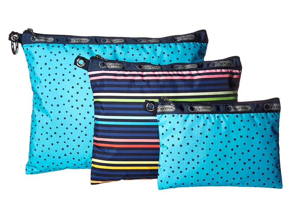 LeSportsac Luggage 3 Piece Travel Set Baby Skies Multi Travel Pouch