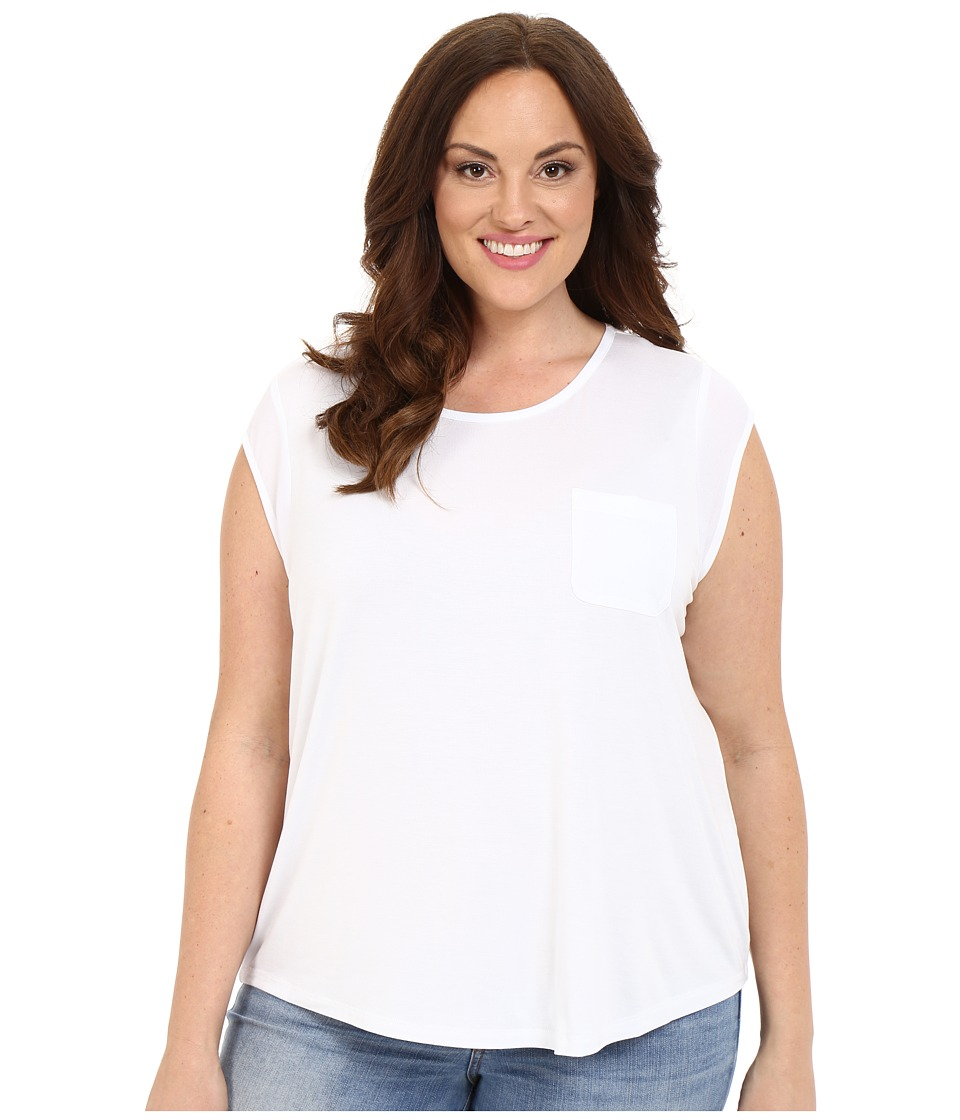 Calvin Klein Plus Plus Size T Shirt w/ One Pocket White Womens Short Sleeve Pullover