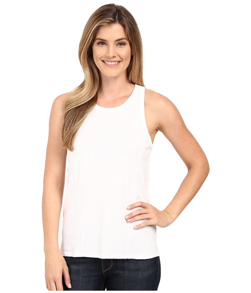 Lilla P Fine Rib Racerback Tank Top White Womens Sleeveless