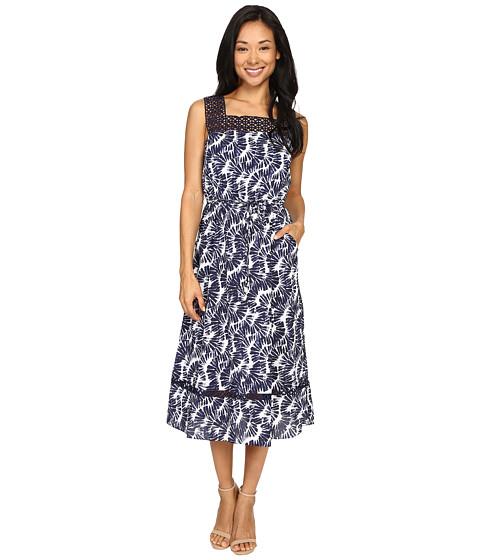 Christin Michaels Joni Lace Illusion Printed Dress
