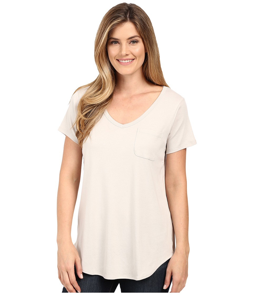 Lilla P Fine Rib Short Sleeve Pocket Tee Fossil Womens T Shirt