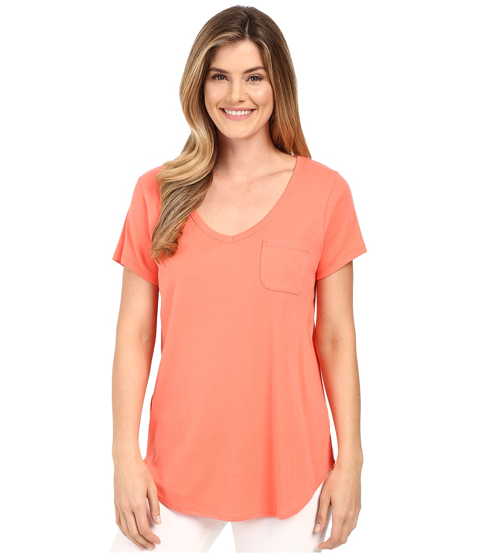 Lilla P Fine Rib Short Sleeve Pocket Tee Guava Womens T Shirt