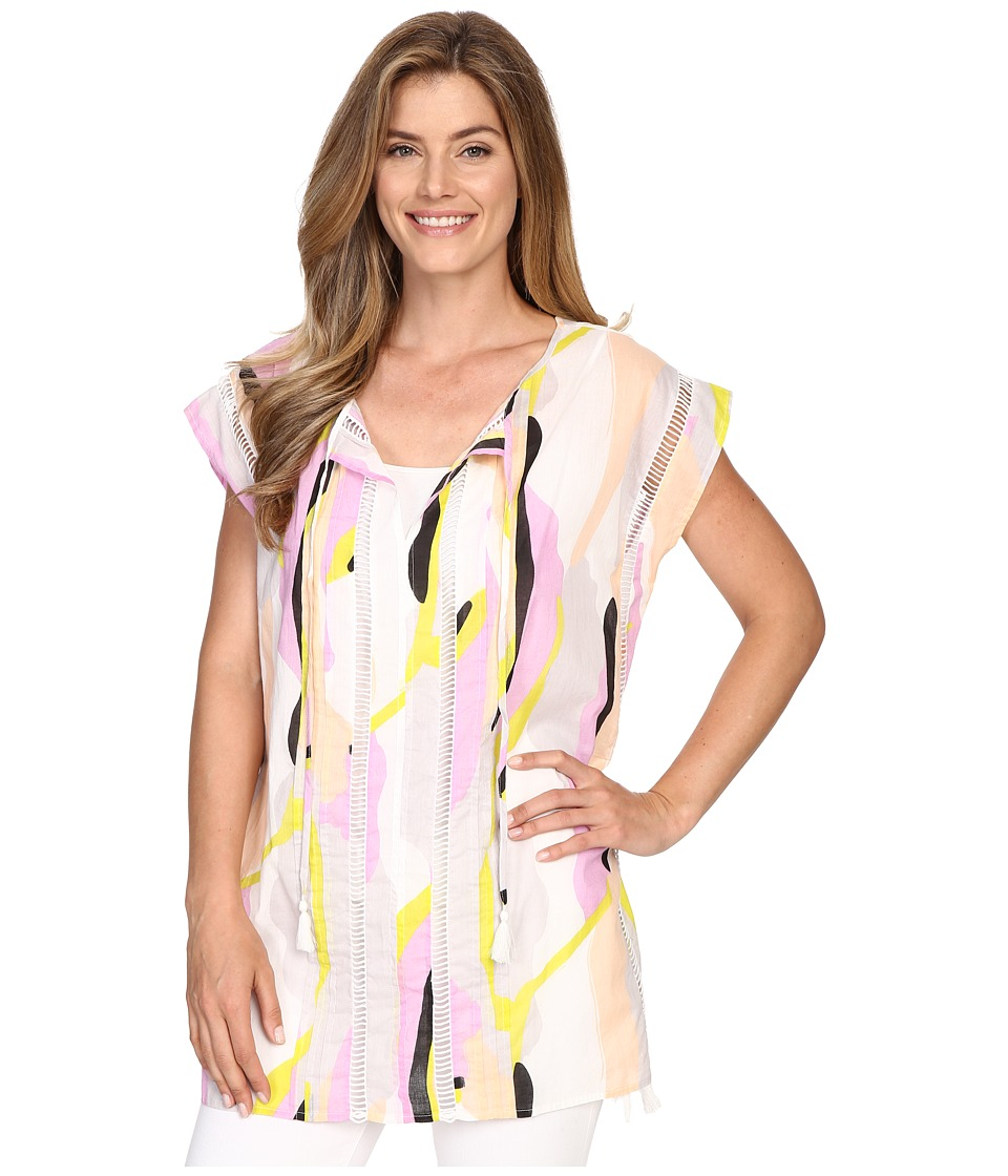 Lilla P Woven Cotton Voile Caftan Swirl Print Womens Clothing