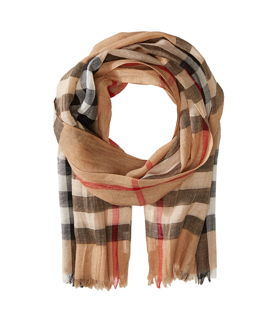 Burberry Kids - Gauze Check Scarf (Little Kids/Big Kids) (Camel Check) Scarves