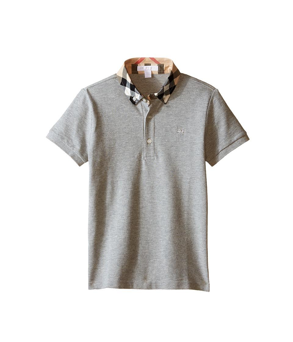 Burberry Kids - Short Sleeve Polo Shirt with Check Collar (Little Kids/Big Kids) (Pale Grey Melange) Boys Clothing