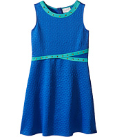 Us Angels - Embossed Scuba Sleeveless Fit & Flare w/ Stud Trim (Big Kids)