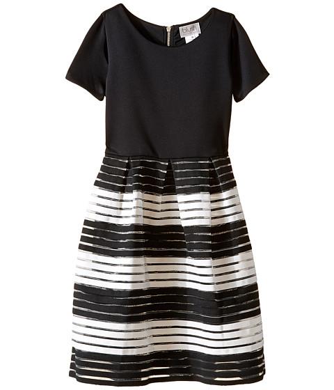Us Angels Short Sleeve Cut Out Scuba w/ Novelty Stripe Skirt (Big Kids)