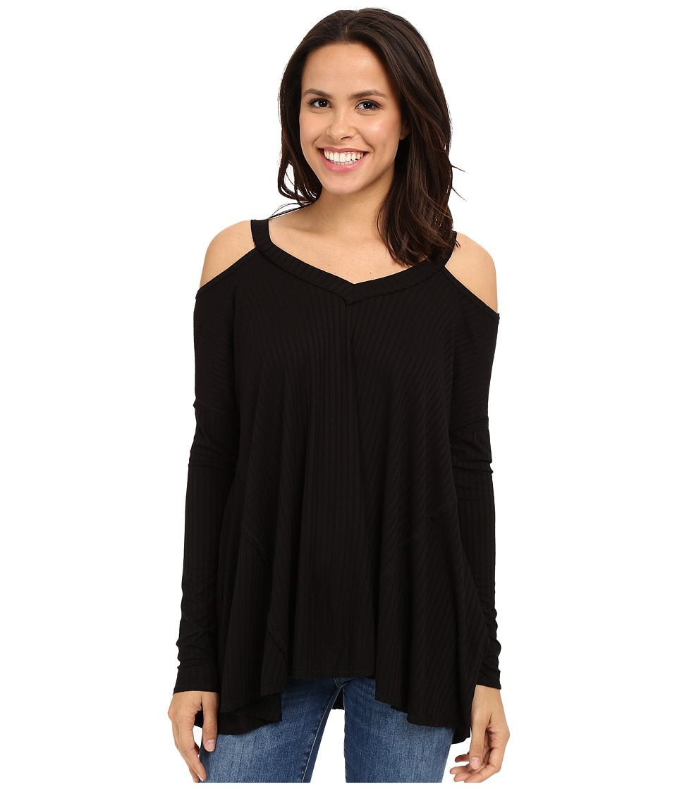 Culture Phit Constance Cold Shoulder Ribbed Top Black Womens Clothing