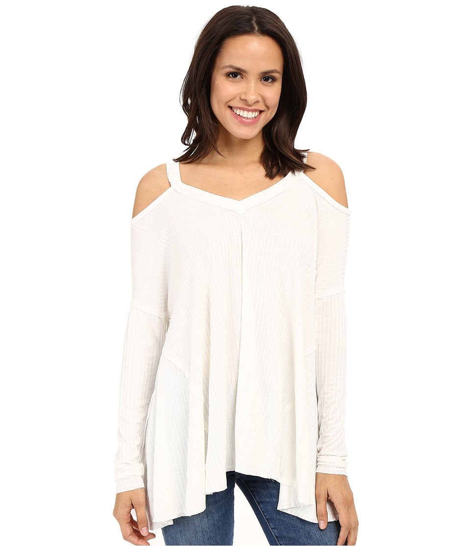 Culture Phit Constance Cold Shoulder Ribbed Top Ivory Womens Clothing